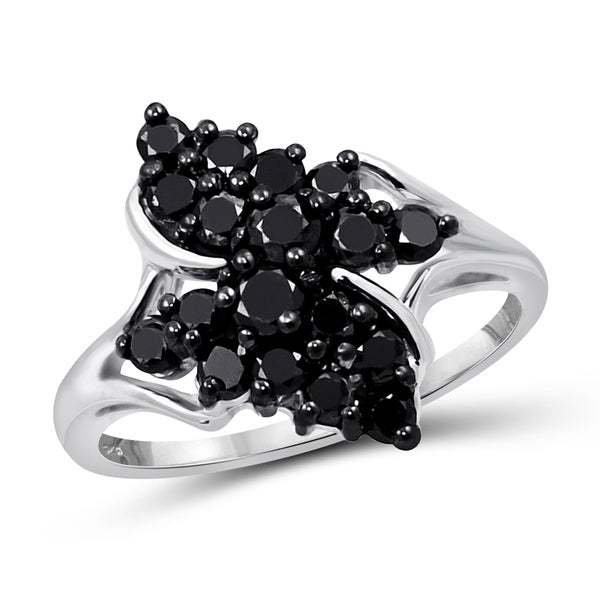 Jewelonfire Sterling Silver 1ct TDW Black Diamond Wing Ring