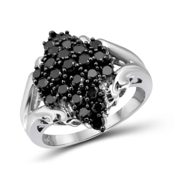 Jewelonfire Sterling Silver 1ct TDW Black Diamond Jagged Ring
