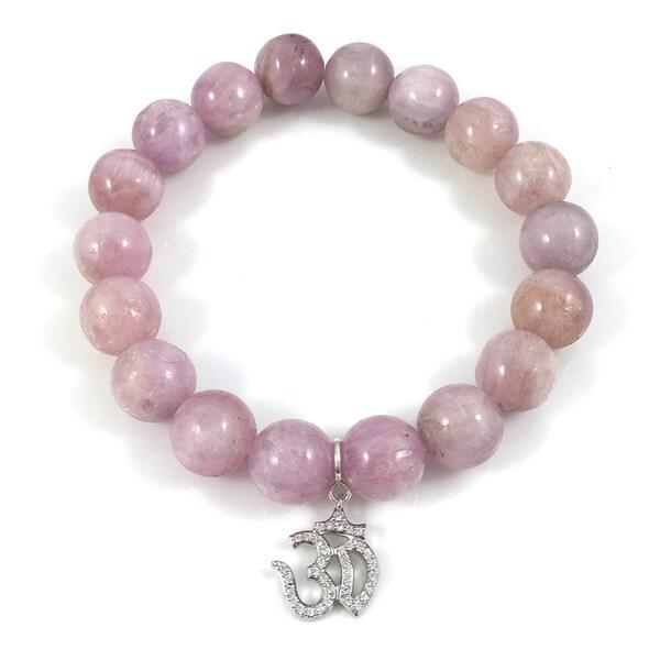 Kunzite Bead Bracelet with Silvertone Cubic Zirconia Om Charm 18202213