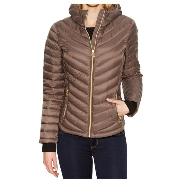 Michael Michael Kors Mocha Hooded Packable Jacket