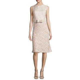 Badgley Mischka Pink Tweed Brocade Dress