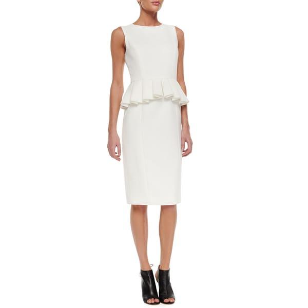 Badgley Mischka White Peplum Dress