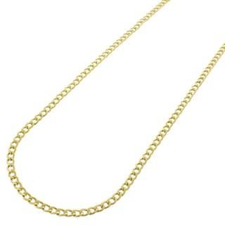 10k Gold 2mm Hollow Cuban Curb Link Necklace