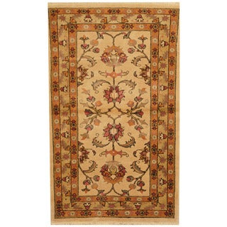Herat Oriental Afghan Hand-knotted Tribal Oushak Ivory/ Orange Wool Rug (2'10 x 4'9)