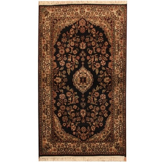 Herat Oriental Indo Hand-knotted Sarouk Black/ Ivory Wool Rug (3' x 5')