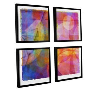 Joost Hogervorst 'Abstract Soft Smooth 4' 4-piece Floater Framed Canvas Sqare Set