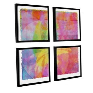Joost Hogervorst 'Abstract Soft Smooth 3' 4-piece Floater Framed Canvas Sqare Set
