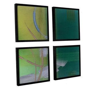Joost Hogervorst 'Abstract 03 I' 4-piece Floater Framed Canvas Sqare Set