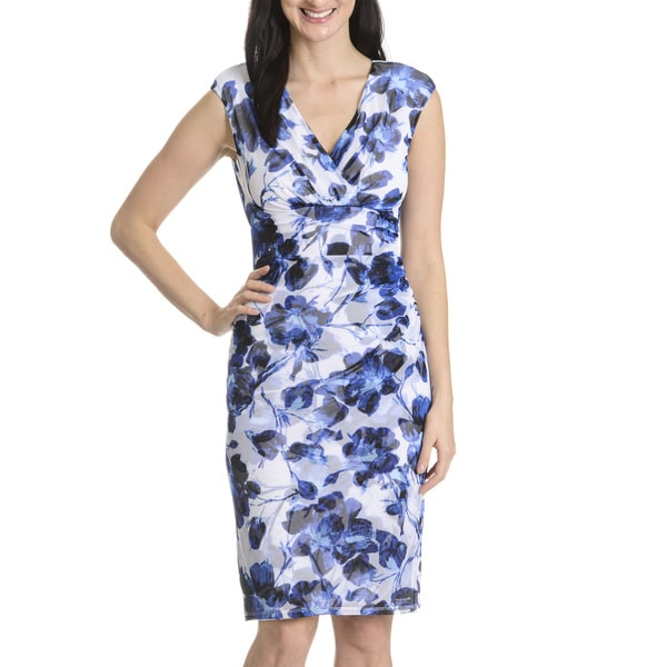 London Times Women's Floral Print Surplus Wrap Dress