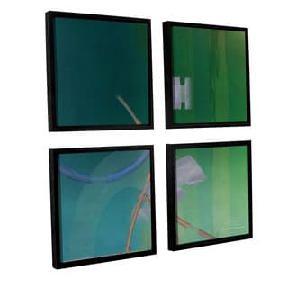 Joost Hogervorst 'Abstract 03 II' 4-piece Floater Framed Canvas Sqare Set