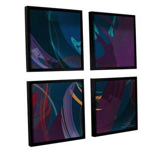 Joost Hogervorst 'Abstract Twirl 01' 4-piece Floater Framed Canvas Sqare Set
