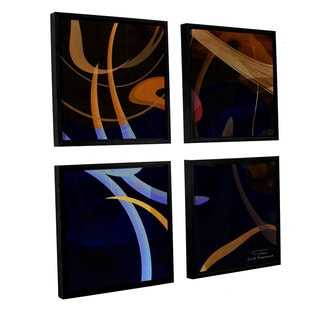 Joost Hogervorst 'Abstract Twirl 03' 4-piece Floater Framed Canvas Sqare Set