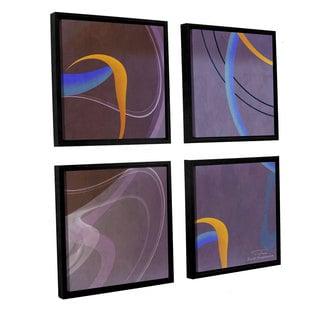 Joost Hogervorst 'Abstract Twirl 07' 4-piece Floater Framed Canvas Sqare Set