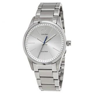 Calvin Klein Men's K2241120 'Bold' Silver Dial Stainless Steel Swiss Quartz Watch