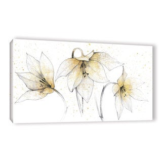 Avery Tillmon 'Gilded Graphite Floral Trio' Gallery Wrapped Canvas