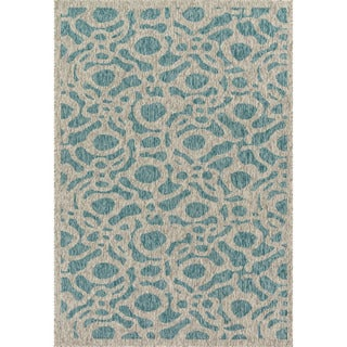 Indoor/ Outdoor Hudson Aqua/ Grey Rug (2'2 x 3'9)