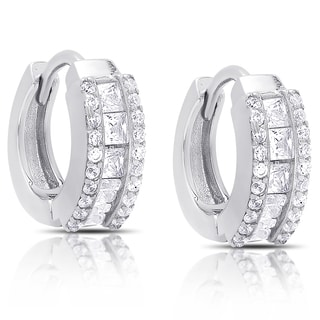 Dolce Giavonna Sterling Silver Cubic Zirconia Huggie Hoop Earrings