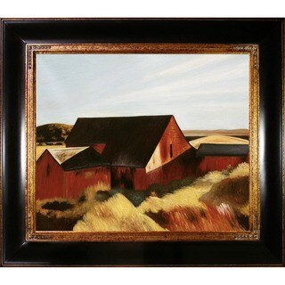 Edward Hopper 'Cobb's Barns, South Truro, 1933' Hand Painted Framed Canvas Art