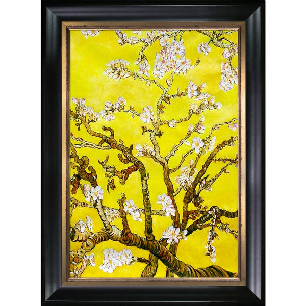 La Pastiche 'Branches of an Almond Tree in Blossom, Citrine Yellow' Hand Painted Framed Canvas Art 18203878
