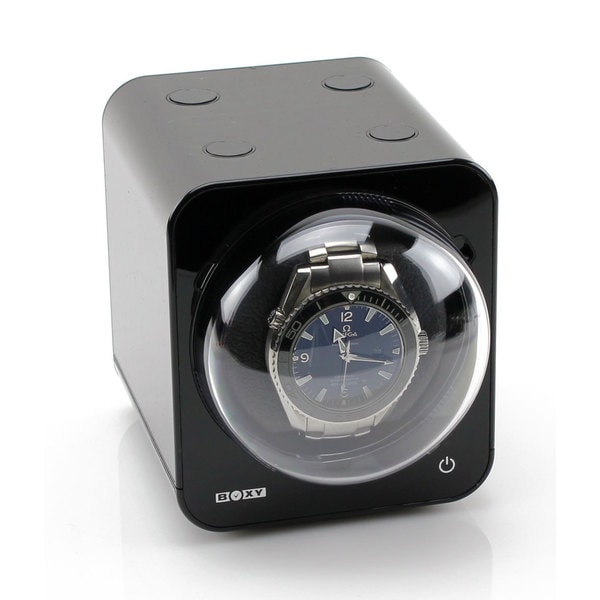 Boxy Fancy Brick Black Watch Winder