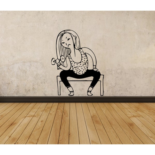 Strong woman fitness body-building Wall Art Sticker Decal