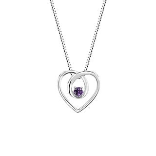 Sterling Silver Heart Shaped Round Amethyst Pendant Necklace