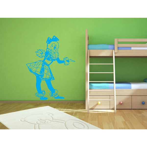 Girl animator clown Wall Art Sticker Decal Blue