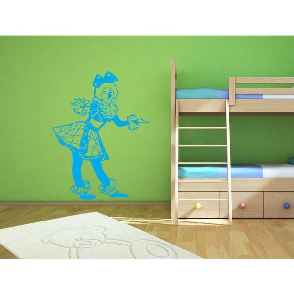 Girl animator clown Wall Art Sticker Decal Blue