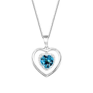 Sterling Silver Heart Shaped Swiss Blue Topaz and Lab-Created White Sapphire Halo Pendant Necklace