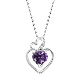 Sterling Silver Heart Amethyst and Lab-Created White Sapphire Heart Pendant Necklace