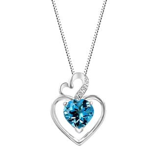 Sterling Silver Heart Swiss Blue Topaz and Lab-Created White Sapphire Heart Pendant Necklace