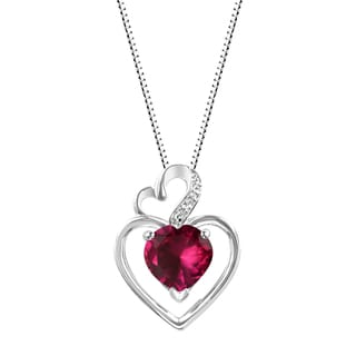 Sterling Silver Heart Amethyst and Lab-Created Ruby Heart Pendant Necklace