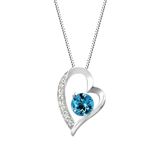 Sterling Silver Round Swiss Blue Topaz and Lab-Created White Sapphire Heart Pendant Necklace