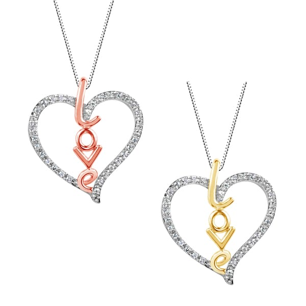 """Sterling Silver and 14k Gold Plated """"Love"""" Lab-created White Sapphire Heart Shape Pendant Necklace"""