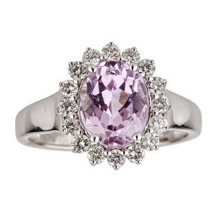 Anika and August 14k White Gold Oval-cut Afghan Kunzite and 3/5ct TDW Diamond Ring (G-H, I1-I2)