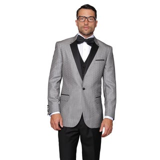 Modena Silver Mens Statement Suit Tuxedo