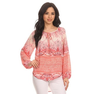 Women's Red Paisley Peasant Blouse