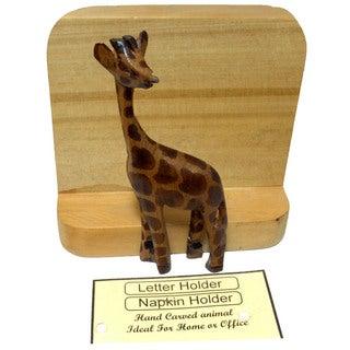 Wooden Giraffe Letter/ Napkin Holder (Kenya)