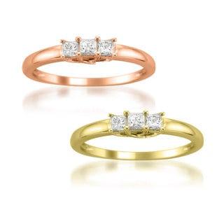 Montebello Jewelry 14k Gold 1/2ct TDW 3-stone Princess-cut Diamond Engagment Ring (H-I, I1)