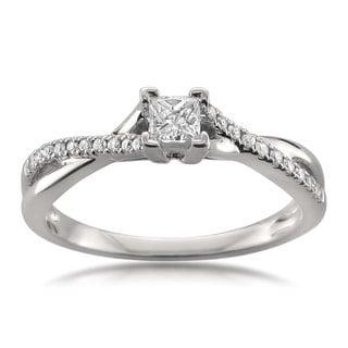 Montebello Jewelry 14k White Gold 1/4ct TDW Princess-cut Diamond Engagement Ring (H-I, I2-I3)