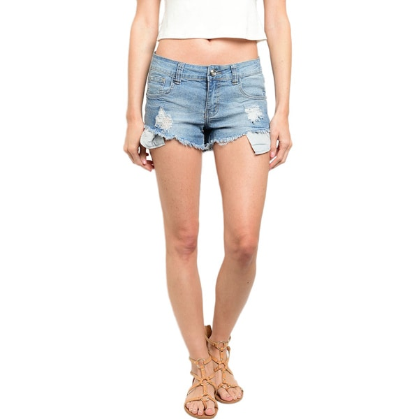 Shop the Trends Women's Button Closure Denim Shorts With Raw Hem