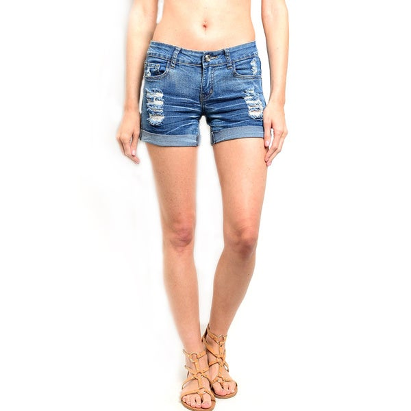 Shop the Trends Women's Low Slung Waist Denim Shorts With And Button Closure With Zip Fly