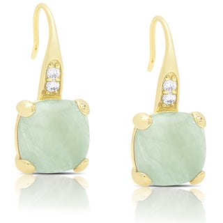 Dolce Giavonna Gold Over Sterling Silver Cubic Zirconia and New Jade Dangle Earrings