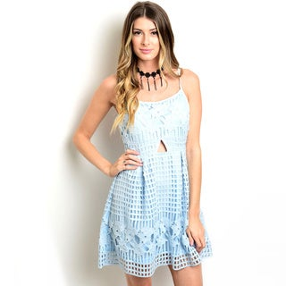 Shop the Trends Women's Spaghetti Strap Crochet Overlay A-Line Dress With Round Neck