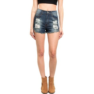 Shop the Trends Women's High Waisted Denim Shorts With Raw Hem