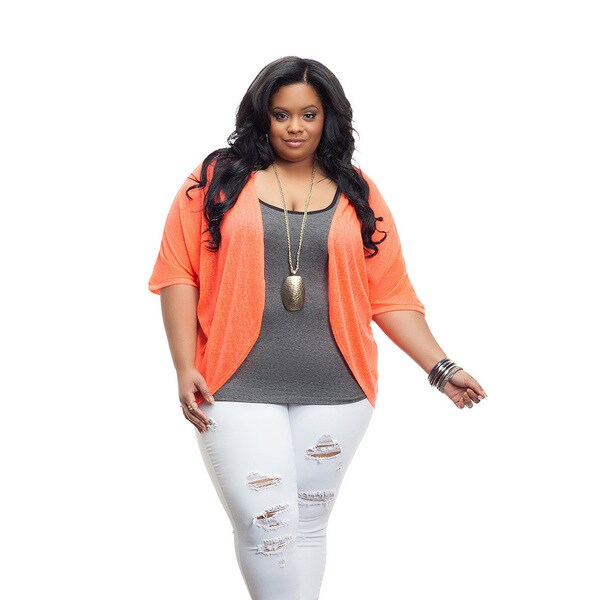 Full Figured Fashionista Women's Plus Size Lightweight Shrug in Coral