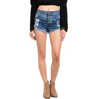 Shop the Trends Women's High Waisted Dark Wash Denim Shorts With Frayed Hem