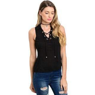 Shop the Trends Women's Sleeveless Collared Top With Lace Up Detail