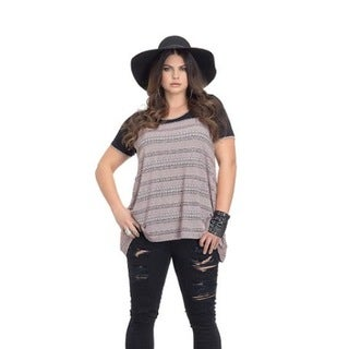 Full Figured Fashionista Women's Plus Size Aztec Inspired T-Shirt in Pink and Black