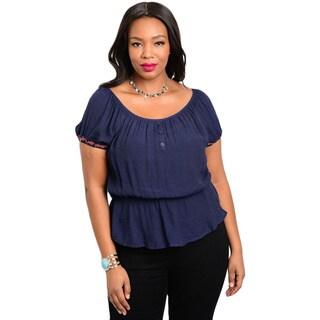 Shop the Trends Women's Plus Size Short Sleeve Woven Top